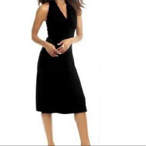 Evan Picone Black Halter Midi Dress Size 6